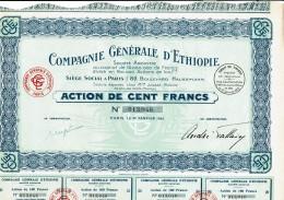 ETHIOPIE-ETHIOPIE. CIE GENERALE D'... Action 1930 DECO. Lot De 25 Titres. - Shareholdings