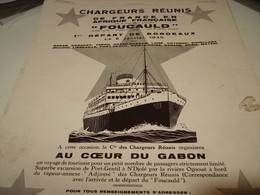 ANCIENNE PUBLICITE CROISIERE PAR LE PAQUEBOT FOUCAULD CHARGEURS REUNIS   1930 - Boats