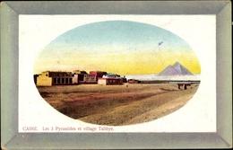 Passepartout Cp Cairo Kairo Ägypten, Les 3 Pyramides Et Village Talibye - Postcards
