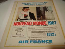 ANCIENNE PUBLICITE AIR FRANCE VACANCE 1967 - Advertisements