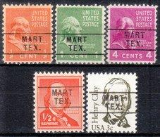 USA Precancel Vorausentwertung Preo, Locals Texas, Mart 745, 5 Diff. - Vereinigte Staaten