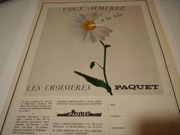 ANCIENNE PUBLICITE CROISIERE PAQUET A LA FOLIE 1967 - Boats