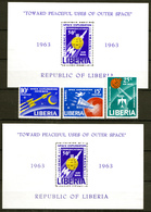 LIBERIA 1963  SPACE SET MNH  SHEETS PERF & IMPERF.  NO GUM         SPACE - Liberia
