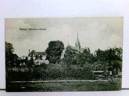 AK Senuc, Schloss Und Kirche; Eisenbahn, Lok; Feldpost 1916 - France