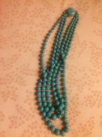 Elegante Collana Multifilo Vintage Anni 40-50 In Pasta Di Turchese (?) Antica Liberty - Necklaces/Chains