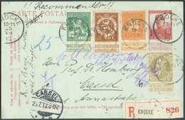 N°75-108/110 En Affr. Compl. Mixte S/E.P. Carte 10 C. PELLENS Obl. Sc KNOCKE En Recommandé Le 25-VII-1913 Vers Cassel (A - Cartes Postales [1909-34]