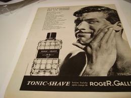 ANCIENNE PUBLICITE PARFUM TONIC SHAVE DE ROGER GALLET 1963 - Other