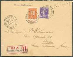 N°108 + France 35 Centimes Semeuse Obl. Sc LE HAVRE (SPECIAL)sur Lettre Recommandée Du 11-3-1915 Vers Dieppe. - Superbe - Weltkrieg 1914-18