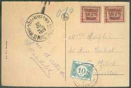 N°192(2) - 3 Centimes HOUYOUX (x2) Surchargés BRUXELLES 1925 BRUSSEL Sur C.P. Expédiée De HEYST-sur-MER Le 20-VII-1925 V - Roller Precancels 1920-29