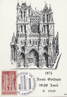 Carte  Maximum   FRANCE   Année  Gothique  En  Picardie    AMIENS  1975 - Gedenkstempel