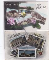Malte-Greetings From Malta .Lot De 2 Cartes. Multivues :Public Library ,St. Paul's Bay..... - Malte