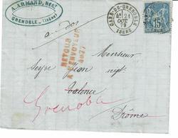 DROME - GRIFFE ROUGE RETOUR A L'ENVOYEUR 4077 ( VALENCE ) / LETTRE GARE DE GRENOBLE TYPE SAGE -VOIR VERSO - 1877-1920: Période Semi Moderne