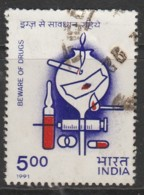 India 1991 International Conference On Drug Abuse, Calcutta 5.00 R Multicoloured SW 1296 O Used - India