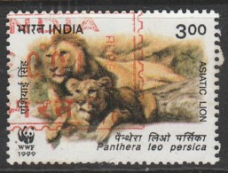 India 1999 Endangered Species. Asiatic Lion 3.00 R Multicoloured SW 1708 O Used - India