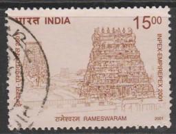 India 2001 Inpex-Empirepex National Stamp Exhibition. Temple Architecture 15.00 P Multicoloured SW 1891 O Used - India