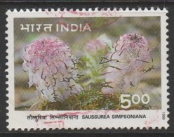 India 1996 Himalayan Ecology Saussurea Simpsoniana (Sunflower) 5.00 R Multicoloured SW 1504 O Used - India