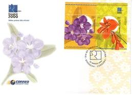 Argentina FDC Mondiale Filatelia Bangkok 2000 Fiori Orchidea E Ceibo - FDC