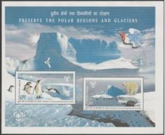 INDIA-2009   MINIATURE SHEET  / PRESERVE THE POLAR REGIONS & GLACIERS / PENGUIN / POLAR BEAR - India