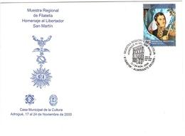 Argentina Jose De San Martin Omaggio Al Libertador Mostra Filatelica Annullo Speciale Casa Della Cultura Adrogué - Argentina