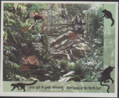 INDIA-2009   MINIATURE SHEET  / RARE FAUNA OF NORTH EAST INDIA / LEAF MONKEY/RED PANDA/MARBLED CAT - India