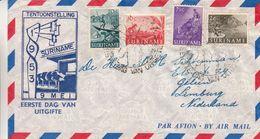 Pays Bas - Suriname - Lettre FDC De 1953 - Exp Vers Geleen - Chasse à L 'arc - Bovins - Pirogue - Surinam ... - 1975