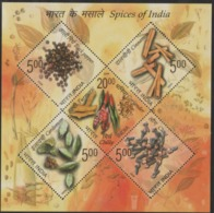 INDIA-2009   MINIATURE SHEET  / The SPICES OF INDIA /BLACK PEPPER/CINNAMON/CORIANDAR,CHILY/CARDAMOM/CLOVE - India