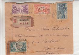 France - Côte Fr Des Somalis - Lettre Recom De 1931 ° - Oblit Djibouti - Exp Vers Bordeaux - Expo De Paris - Französich-Somaliküste (1894-1967)