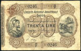 BUONI AGRARI Credito Agricolo Industriale Sardo  30 Lire 01/03/1874 Gav. 41 Bao/Costa/Boy Con Timbro Al R Lotto 2214 - Italien