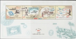 INDIA-2004   MINIATURE SHEET  / THE 150TH YEAR OF INDIA POST / EVOLUTION OF INDIAN POSTAL SYSTEM - India