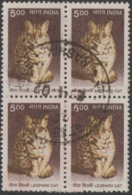 USED DEFINITIVE STAMP IN BLOCK ON PAPER /500 LEOPARD CAT (Issued In 2005) - Blocks & Sheetlets