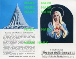 Santino Depliant MADONNA DELLE LACRIME DI SIRACUSA (con Cotone Benedetto) - PERFETTO P68 - Religione & Esoterismo