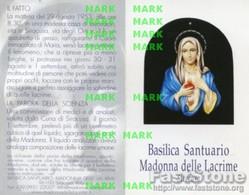Santino Depliant MADONNA DELLE LACRIME DI SIRACUSA (con Cotone Benedetto) - OTTIMO P68 - Religione & Esoterismo
