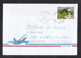 Ivory Coast: Airmail Cover To Switzerland, 2002, 1 Stamp, World Cup Soccer, Football, Sports (minor Damage, See Scan) - Ivoorkust (1960-...)