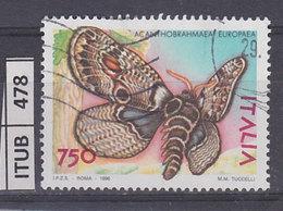 ITALIA REPUBBLICA 1996Farfalle Acanthobrahmaea Usato - 1946-.. Republiek