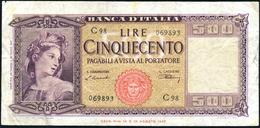 500 Lire Italia 20 03 1947 N.c. Bb LOTTO 2218 - [ 2] 1946-… : Repubblica