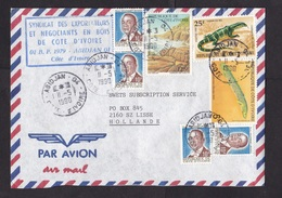 Ivory Coast: Airmail Cover To Netherlands, 1990, 7 Stamps, Fish, Varanus Lizard, Rare Real Use (traces Of Use) - Ivoorkust (1960-...)