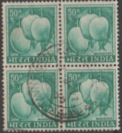 USED DEFINITIVE STAMP IN BLOCK ON PAPER /50p MANGOES (Issued In 1967) - Blocks & Sheetlets