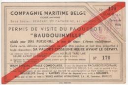 """Compagnie Maritime Belge. Permis De Visite Du Paquebot """"Baudouinville"""". N° 170 - Boats"""