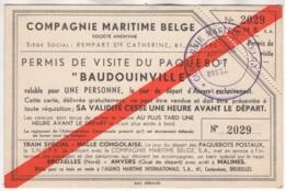 """Compagnie Maritime Belge. Permis De Visite Du Paquebot """"Baudouinville"""". N° 2029 - Boats"""