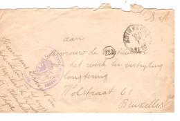 2325/ L.en Franchise S.M.c.Andinkerke 20/1/1920 + C.Hôpital Militaire Cabour Adinkerke V.BXL C.d'arrivée - Marcophilie