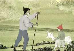 Illustrateur En Marchant Vers L'etoile Berger Chèvre RV - Pittura & Quadri