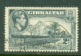 Gibraltar: 1938/51   KGVI     SG124ab    2d   Grey  [Perf: 13½  Wmk Sideways]   Used - Gibilterra