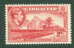 Gibraltar: 1938/51   KGVI     SG124c    2d   Carmine  MNH - Gibraltar