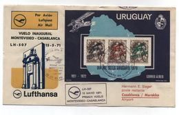 Uruguay LUFTHANSA LH 507 FIRST FLIGHT COVER TO Morocco 1971 - Uruguay