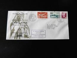 LETTRE  PREMIERE LIAISON REGULIERE  BRUXELLES- CASABLANCA -  LEOPOLDVILLE PAR AVION SABENA  -  1953  - - Marokko (1891-1956)