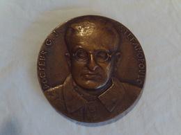 """MEDAILLE EN BRONZE DOCTEUR C.J. STEFANOPOULO. 1893 - 1949. INSTITUT PASTEUR. SIGNEE """" APARTIS """". 1949. Poids 211 Grs - Altri"""