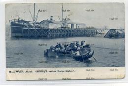 Myanmar Burma Main Wharf Akyab Raising Sunk Cargo Lighter British India Line BISNC Ship Behind Undivided Back - Myanmar (Burma)