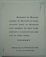 Faire-part Naissance Thierry De Halleux. - 1960. - Birth & Baptism