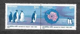 #280# INDIA YVERT 1102/1103, MICHEL 1304/1305 MNH**, PENGUIN, ANTARCTIC TREATY. - India