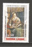 SIERRA LEONE - 2002 DOMENICO GHIRLANDAIO Nascita Della Vergine Maria Particolare (S.Maria Novella, Firenze) Nuovo** MNH - Religieux